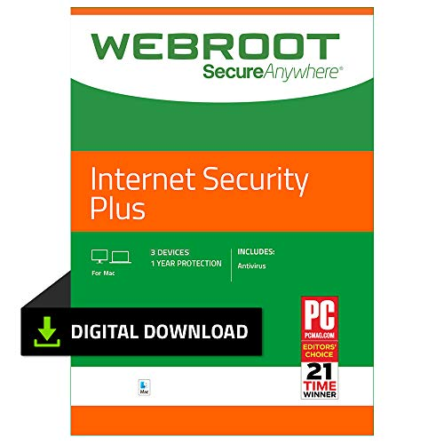 Webroot Internet Security Plus with Antivirus Protection - 2019 Software  | 3 Device | 1 Year Subscription | Mac Download