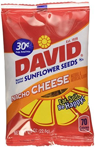 David Sunflower Seeds Nacho Cheese 72 ct. .8oz bags (2 boxes of 36) by DAVID Seeds (Vision Cheese)
