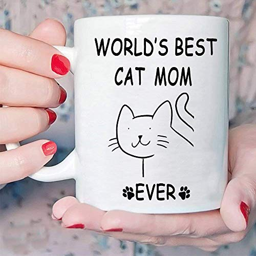 (Funny Gifts Cat Coffee Mug for Mom - World's Best Cat Mom Ever - Novelty Cat Lover Gifts Coffee Tea Cup 12 Ounce White, Best Prime Mom Gifts from Daughter and Son On Mother's Day)
