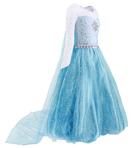 AmzBarley Big Girls Elsa Outfit Clothes Party Costume Princess Fancy Dress Up Preschool Halloween Role Play Dresses Blue Size 12]()
