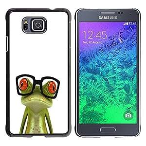 Be Good Phone Accessory // Dura Cáscara cubierta Protectora Caso Carcasa Funda de Protección para Samsung GALAXY ALPHA G850 // Nerd Frog Glasses Sad White Green