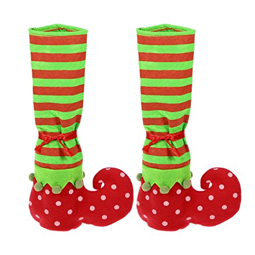 WINOMO 2pcs Christmas Decoration Elf Stocking Slipper Table Chair Leg Covers Caps]()