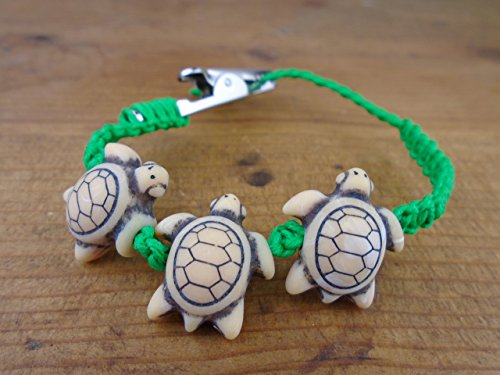 Hemp Handmade Jewelry (Green Turtle Alligator Clip Hemp Bracelet Anklet Choker Necklace Adjustable Men's or Women's)