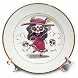 3dRose Sven Herkenrath Celebration - Fashionable Trendy Skeleton Dancing Dia De Los Muertos - 8 inch Porcelain Plate (cp_281673_1)