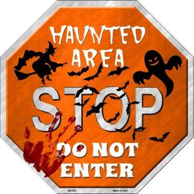 Sticky Notes Bargain World Haunted Area Stop Metal Novelty Stop Sign