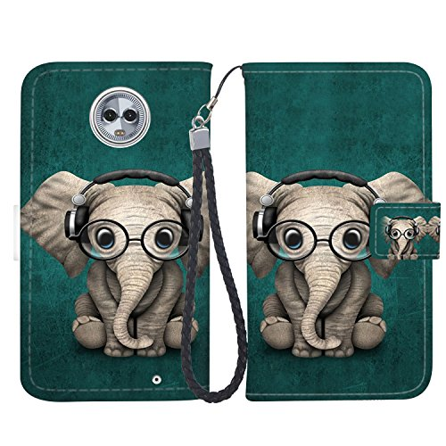 Moto G6 Case, Moto G6 Wallet Case, Fashion PU Leather Magnetic Folio Wallet Case [Wrist Strap] with ID&Credit Card Slots and Kickstand for Motorola G6 (5.7 Inch) - Baby Elephant