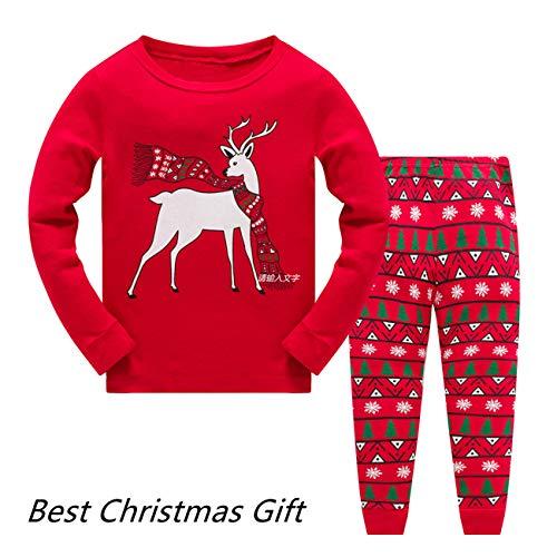 Baby Girls Christmas Pyjamas Set Kids Reindeer Costume Winter Long Sleeve Pjs Nightwear Sleepwear for Toddler Boys Childrens