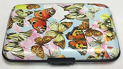 Fig Design Group Colored Butterflies RFID Secure Data Theft Protection Credit Card Armored Wallet