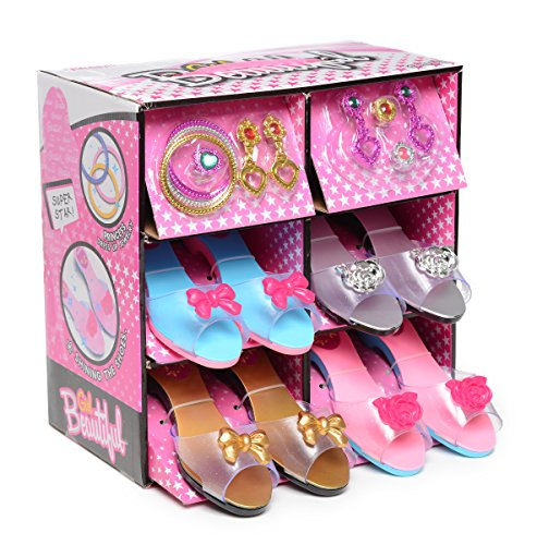Fashionista Girl Princess Dress Up and Role Play Collection Shoe set and Jewelry Boutique (12 Piece Dress up Set) Ages 3-10 ()