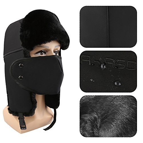 Winter Hat with Ear Flaps AKASO Trooper Trapper Hat, Hunting Hat with Detachable Face Mask, Waterproof and Windproof Snow Hat, Warm Faux Fur Ushanka Hat for Men & Women, Free Neck Gaiter Included