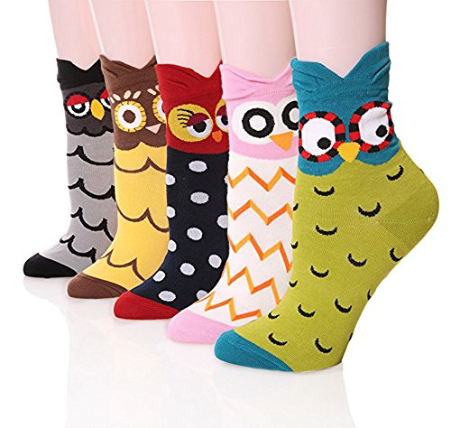 Womens Casual Socks-Cute Crazy Lovely Animal Cats Good for Gift One Size Fits All,5 Owls,One Size