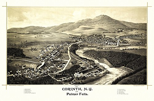 Historic Map of Corinth New York 1888 Saratoga County Paper Poster