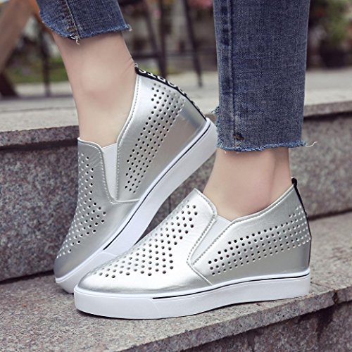 AIMTOPPY HOT Sale Women's Solid Color Hollow Out Increasing Wedges Raised Pointed Shoes Casual Shoes (US:5, Silver) by AIMTOPPY (Image #2)