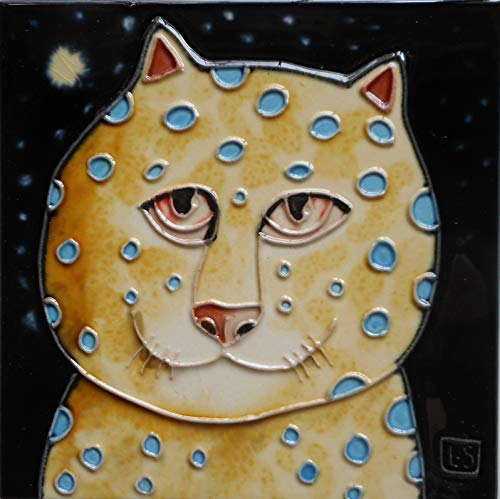 Tile Craft Hand Painted cat Ceramic Art Tile 6 x 6 inches with Easel Back