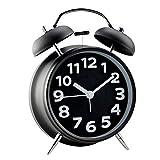 "Kaimao 4"" (11.7cm) Silent Twin Bell Alarm Clock with Night light, No Tick Classic Table Clock Matt Finished - Black"