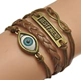 BRCbeads Top Quality Bracelet Bronze Infinity Lady Retro Knit Charms PU Suede Wrap Angel Eye Best Friend Brown