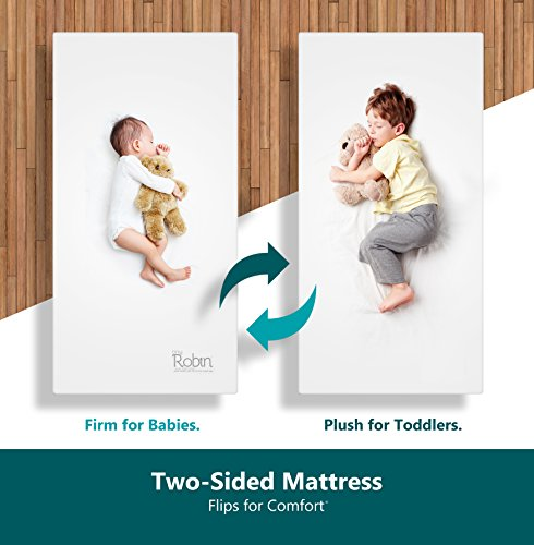 2 Sided Mattress - Moonlight Slumber Breathable Dual Sided Baby Crib Mattress. Firm Sided for Infants Reverse to Soft Side for Toddlers Bed. Easy to Clean Waterproof and Odor Resistant (Made in USA. Latest Version).