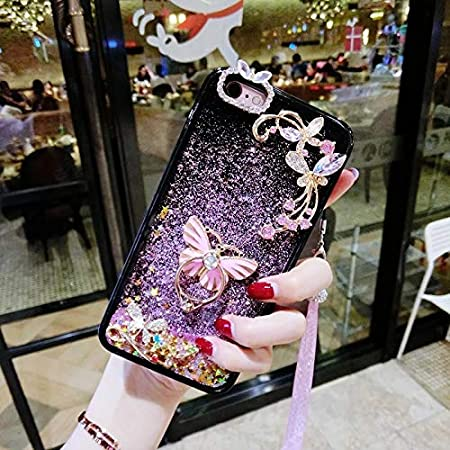 Case Bling for iPhone 8 Plus, SevenPanda iPhone 7 Plus Luxury Bling Moon Stars Rhinestone Soft Rubber Cute Beauty Shiny Liquid Star Glitter Bumper for Girls Women with Crystal Neck Lanyard - Pink IP7/8(5.5)-LiuShaStar-Fen