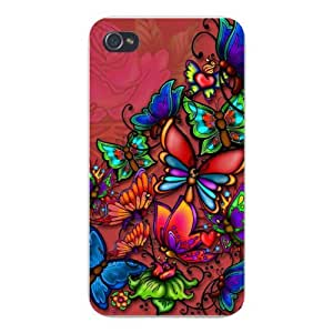 Apple Iphone Custom Case 5 5s Snap on - Colorful Cartoon of Butterflies & Flowers