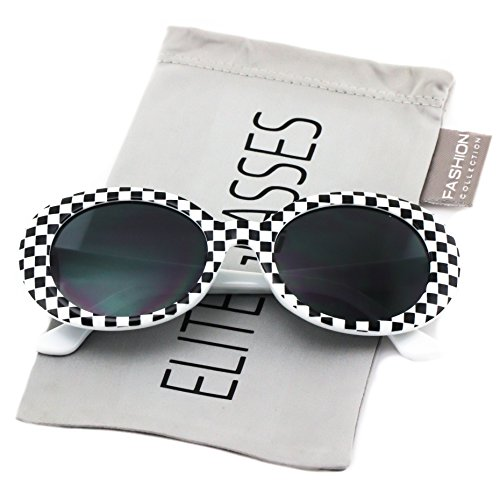 Elite NIRVANA Kurt Cobain Oval Bold Vintage Sunglasses For Women Men Eyewear - Checkered Frame Black Lens (Checkered White, - Black And Checkered White Sunglasses