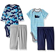 Gerber Baby Boy 4 Piece Bodysuit and Pant Set, Rhino, 18 Months