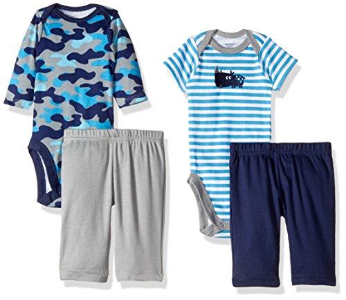 Gerber Baby Boy 4 Piece Bodysuit and Pant Set, rhino, 12 Months (Rino Plush)
