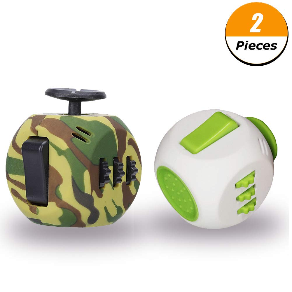 FIDGET DICE Upgraded Version Fidget Toy Cube, Anti-Anxiety Depression Cube Children Adults, 2 Pack