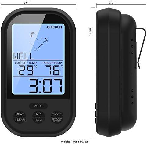 Drahtlose Fernbedienung Grill Thermometer Outdoor Portable Barbecue elektronisches Thermometer schwarz, spezielle Oberflächenbehandlung, sehr gutes Gefühl