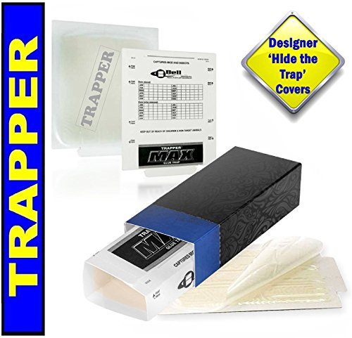 Trapper Glue Traps and 'Hide the Trap' Blue Covers 10 PACK. Catch Mice, Insects, Bed Bugs, Spiders, Crickets, Roaches and Mouse. Peanut Butter Scented Sticky Boards Pest ()
