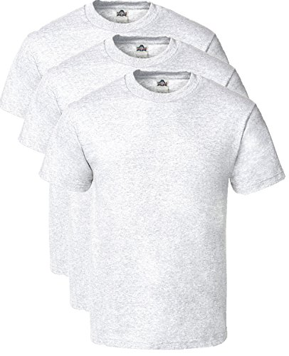 (Alstyle Men's Classic Cotton Crew Neck Short Sleeve Plain T-Shirt 3-Pack-Assorted (Medium, Ash, Ash, Ash))
