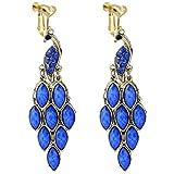Bohemian Vintage Heart Clip on Earrings for Girls Women Blue Stone Charm Peacock Dangle Drop Earrings