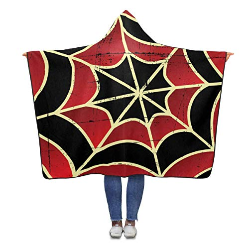 InterestPrint Halloween Spider Web Throw Blanket 80 x 56 inches Adults Girls Boys Polar Fleece Blankets with Hood (Spider 56 Halloween)
