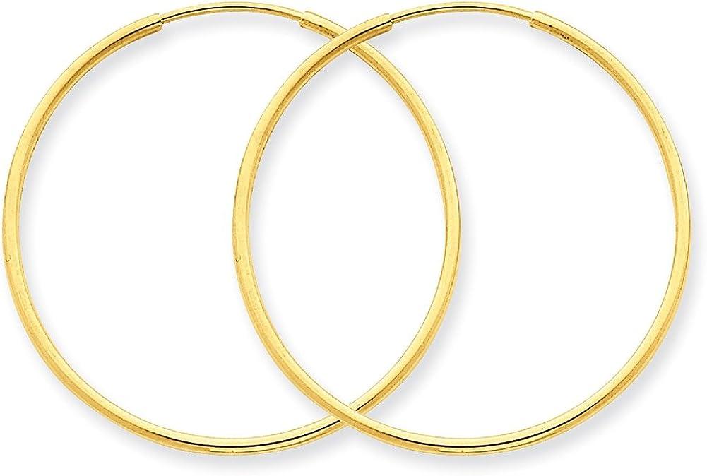Lex /& Lu 14k Yellow Gold 1.25mm Endless Hoop Earrings LAL90400
