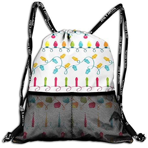 Taslilye Christmas Light Bulbs Set Vector Image Drawstring Backpack Front Zipper Mesh Bag Unisex For Travel -