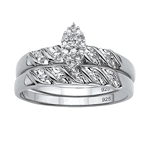 White Diamond Platinum over .925 Silver 2-Piece Bridal Set (.10 cttw, HI Color, I3 Clarity) Size 7 (Set Colour Two Diamond)