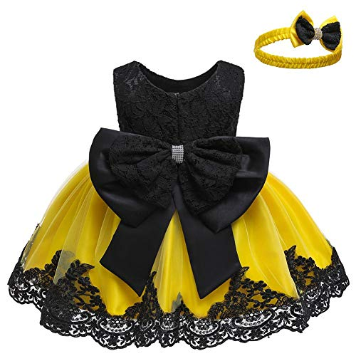 LZH Baby Girls Formal Dress Bowknot Baptism Embroidery Tutu Dress with Headwear(Black&Yellow,24M/18-24 Months)
