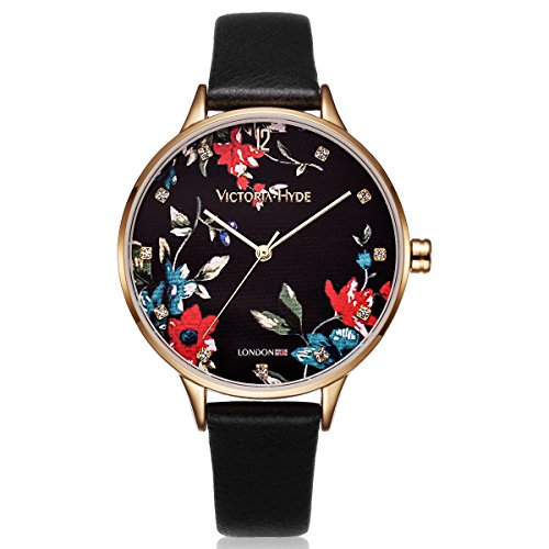 VICTORIA HYDE Womans Quartz Watch Floral Face Genuine Leather Strap Black For Ladies Waterproof