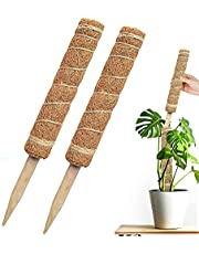 """Moss Pole 26"""" Moss Poles for Monstera Plants, 2 Pieces of 15.4"""" KASTWAVE Cocoa Poles, Used for Climbing Houseplants, Training the Growth of Monstera Philodendron Pothos Creeper Plants"""