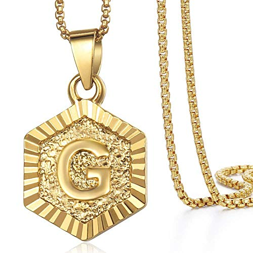 - Hermah Gold Plated Charm Pendant Box Link Necklace Initital Capital Letter G Mens Womens Pendant Hexagon Charm 22inch