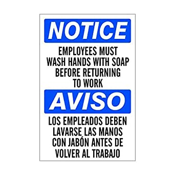 image regarding Employees Must Wash Hands Sign Printable named Aluminum Awareness Staff Should Clean Fingers Indicator 10x14
