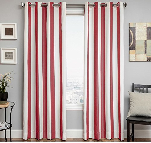 1 Piece 96 Inch Natural Jockey Red Color Stripe Gazebo Curtain Single Panel, Red Striped Pattern Rugby Colors Outside, Outdoor Pergola Drapes Porch Deck Cabana Patio Screen Entrance Sunroom Stripes