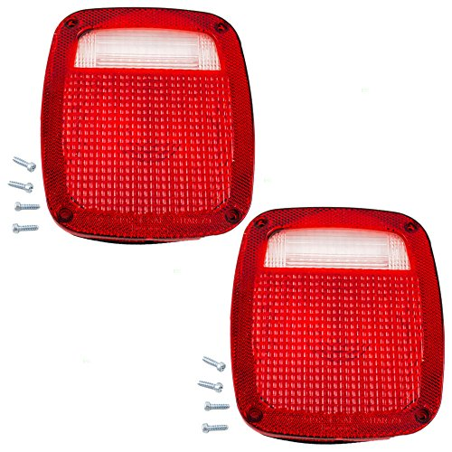 (Pair of Taillights Tail Lamps Lens Replacement for Ford Chevrolet GMC Jeep Pickup Truck SUV 5457724)
