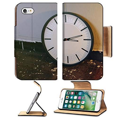 Style Floorboards (Liili Premium Apple iPhone 7 Flip Pu Leather Wallet Case Wall clock on the wooden floor Process in vintage style color 29126723)