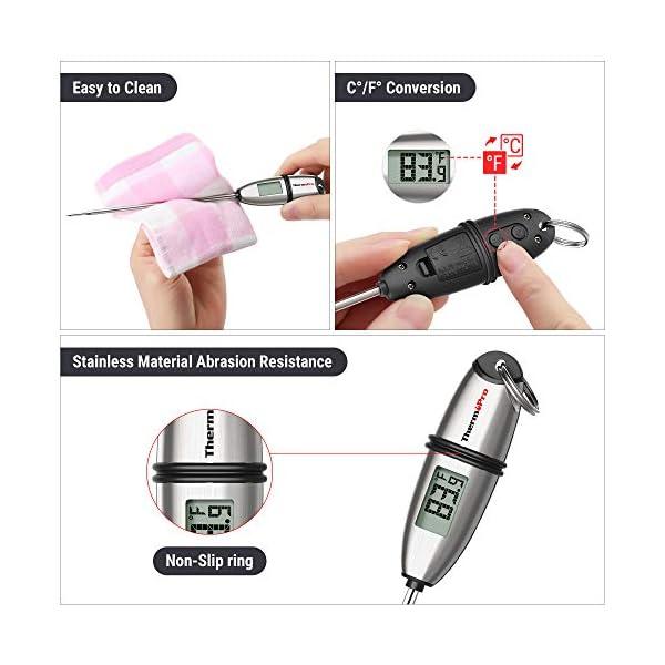 """ThermoPro TP02S Termometro da Cucina Digitale a Lettura Istantanea con 5.35"""" Sonda Lunga e Display LCD per BBQ Carne Barbecue Vino Latte Olio Dolci Alimenti Griglia Acqua 4"""
