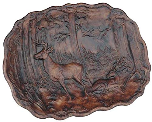 EuroLuxHome Plaque Mountain Rustic Deer in Forest Oval Resin New Relief Carved ()