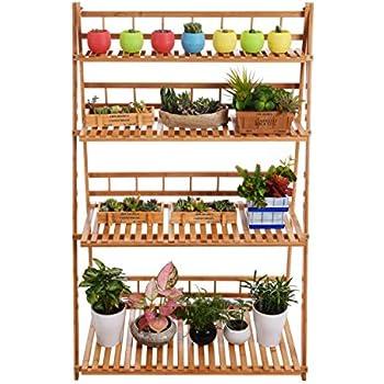Plant Flower Stand Display Shelf Rack Bamboo Foldable Pot Racks Planter Storage Shelving Unit