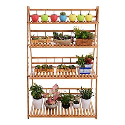 (Plant Flower Stand Plant Display Shelf Rack Shelf Bamboo Foldable Pot Racks Planter Storage Rack Display Shelving Unit )
