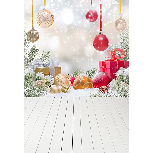 Vintage Christmas Pictures - Muzi Photography Backdrops for Christmas Gifts Decorations Pine Snow Newborn Children Baby Family Photo Studio Prop Vintage Wood Floor Background 5x7ft XT-4350
