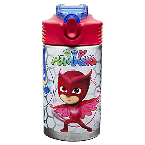Zak Designs PJ Masks 15.5oz Stainless Steel Kids Water Bottle with Flip-up Straw Spout - BPA Free Durable Design, PJ Masks SS