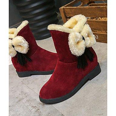 Pu Mid Mujer Redonda De Zapatos UK4 Puntera Invierno Botas Botas Para RTRY Vino Confort Bowknot Botas EU36 De De Negro CN36 Plana US6 Ocasionales Calf Nieve Talón Zqw7xIE